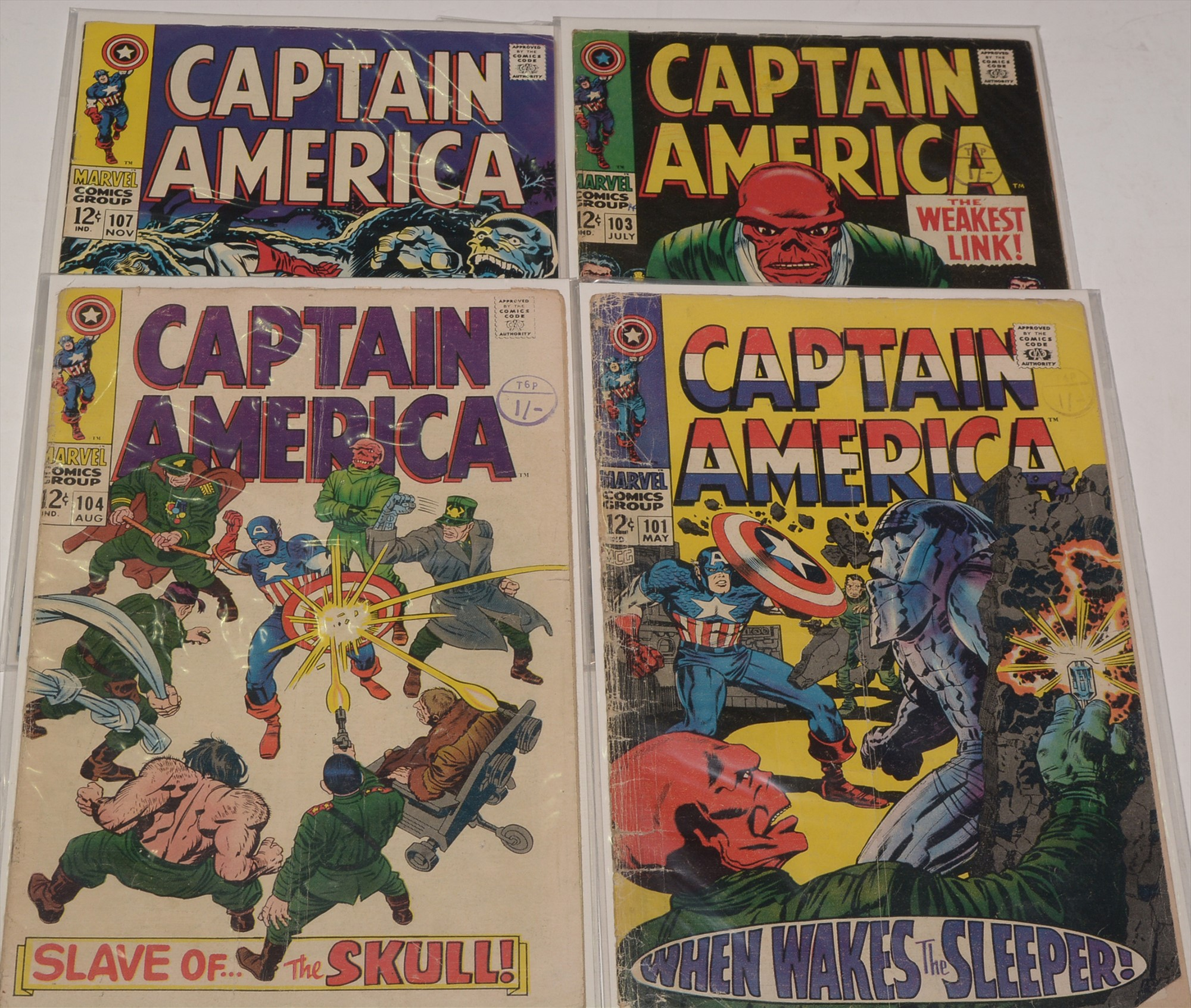 Captain America No. 101, 103, 104 and 107.