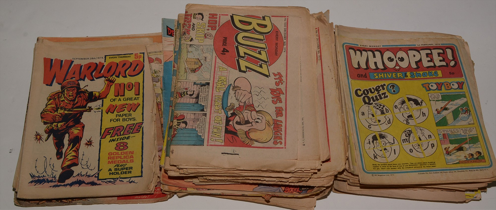 The Beezer, The Topper and Buzz sundry 1970's issues and Holiday Specials, Whizzer and Chips,