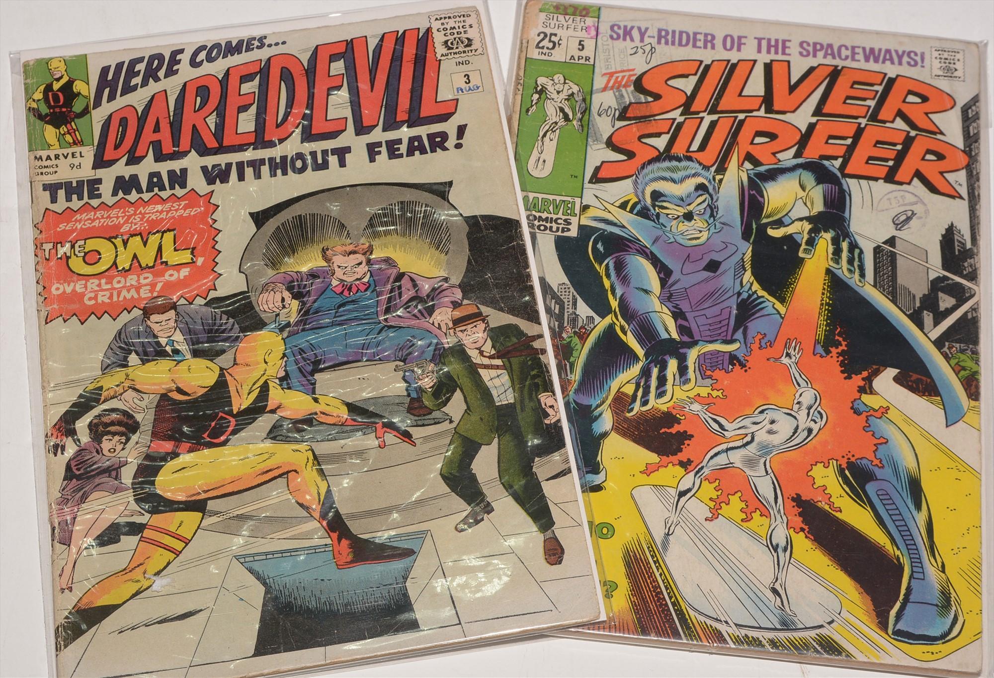 The Silver Surfer No. 5 and Daredevil No. 3.