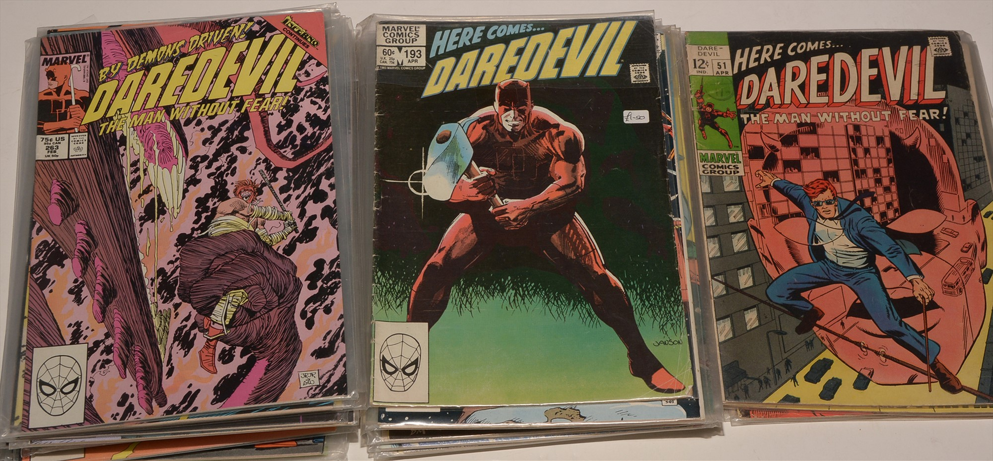 Daredevil No's. 51, 52, 53, 55, 193, 198, 200, 218, 220 and sundry subsequent issues, highest number
