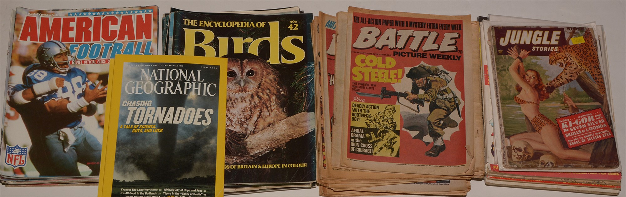 Jungle Stories; other comics and magazines.