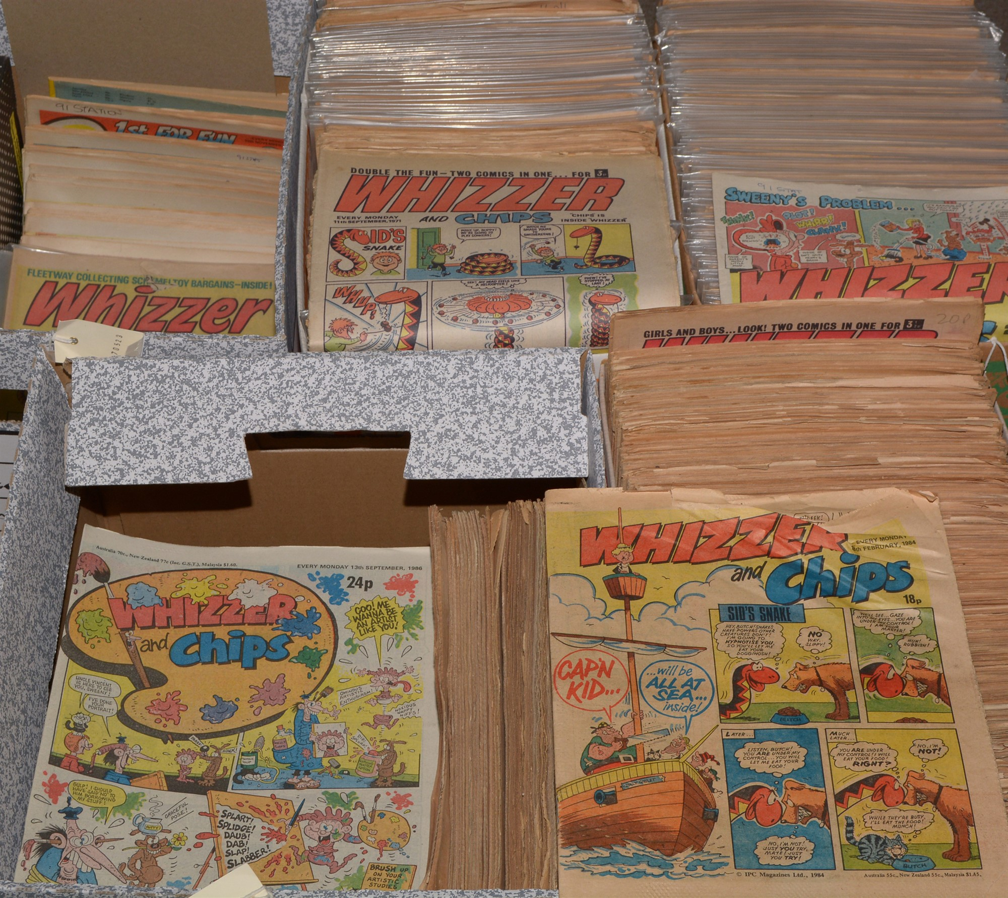 A collection of Whizzer and Chips comics from 1970's and 1980's. (5 boxes)