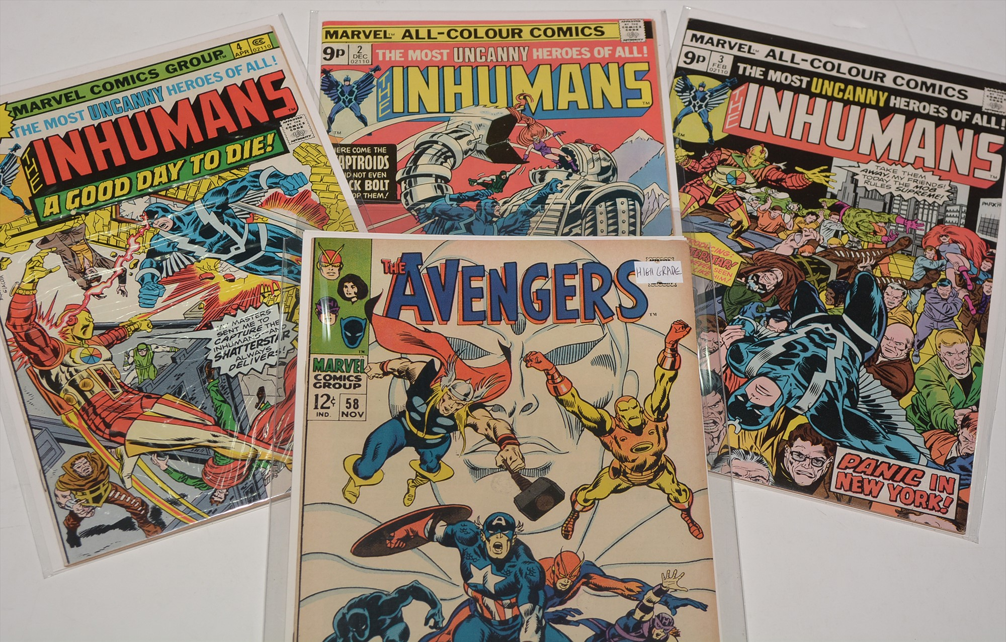 The Avengers No. 58; together with The Inhumans No's. 2, 3 and 4.