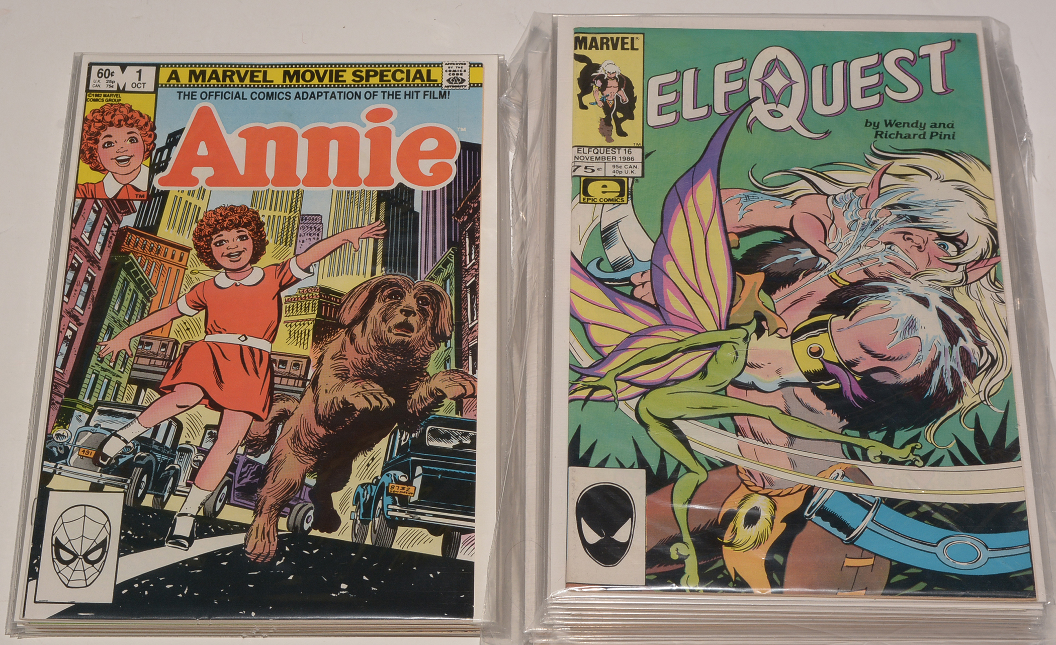 Elf Quest (Marvel) No's. 1-4, and sundry later issues, final issue No. 32. (qty) and Annie (Marvel