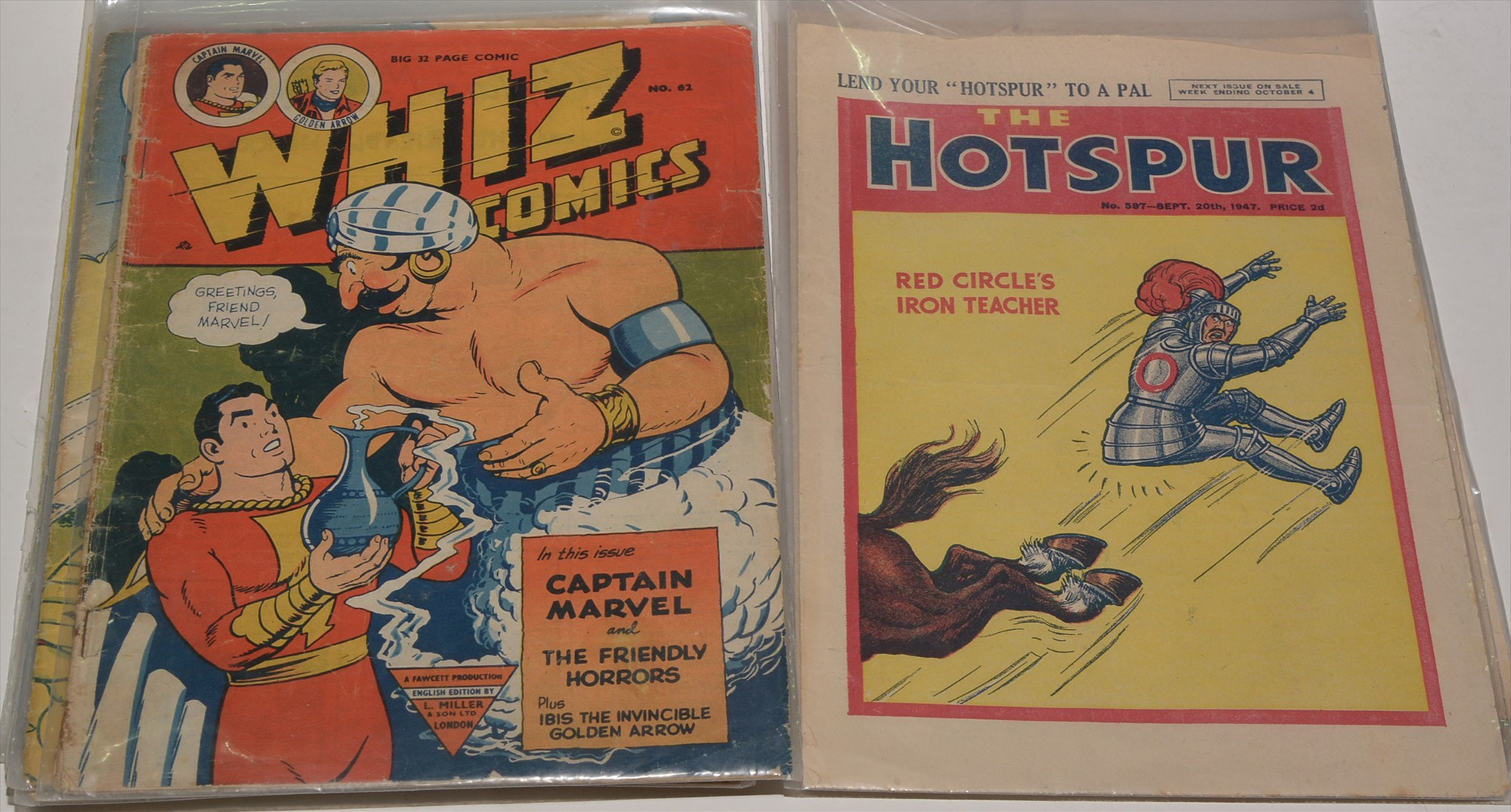 The Wizard 1946/57 (x 3); The Hotspur No. 587, September 1947. (4), also Whizz Comics (L. Miller)