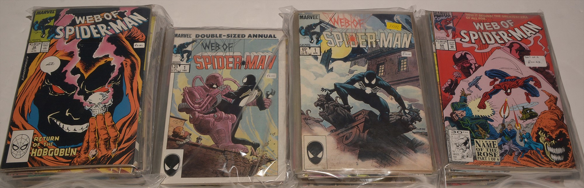 Web of Spider-Man No's. 1, 2, 3, 4, 6 and a large quantity of subsequent issues, highest number 125,