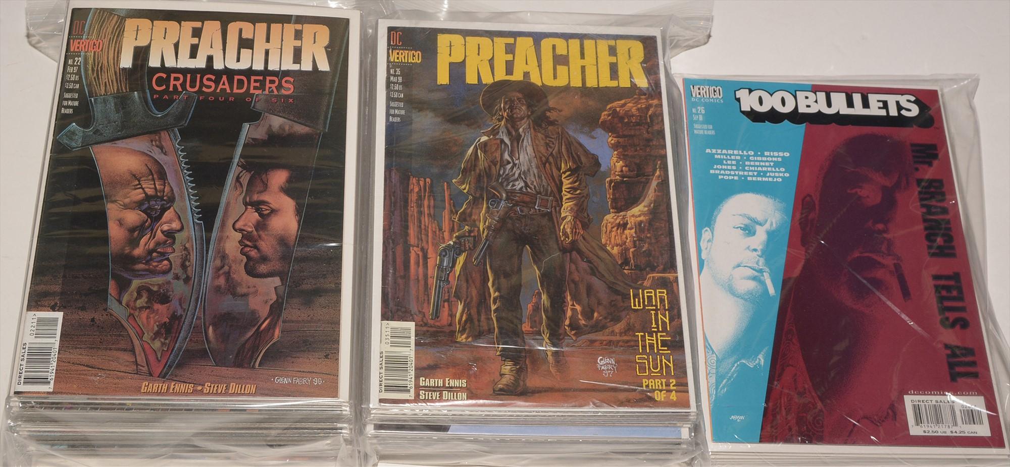 The Preacher by DC Vertigo; and 100 Bullets, sundry issues