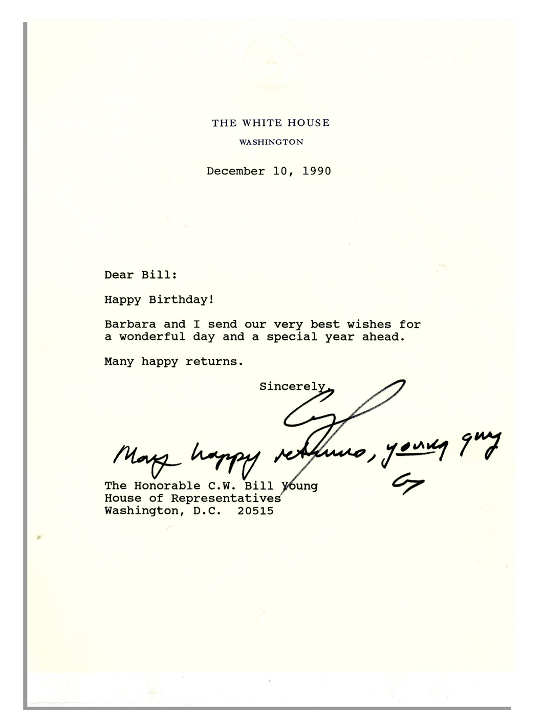 As President George HW Bush Sends Birthday Wishes Via A