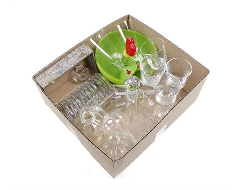 Box with 12 glass octagonal coasters in a case, glass pendulum glasses, carafe, vases, colored glass bowl and glasses, design