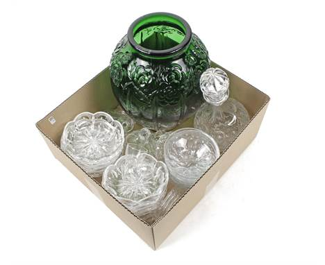 Box with green glass vase, crystal carafe with stopper, various coasters, finger bowls, compote dishes and some glasses