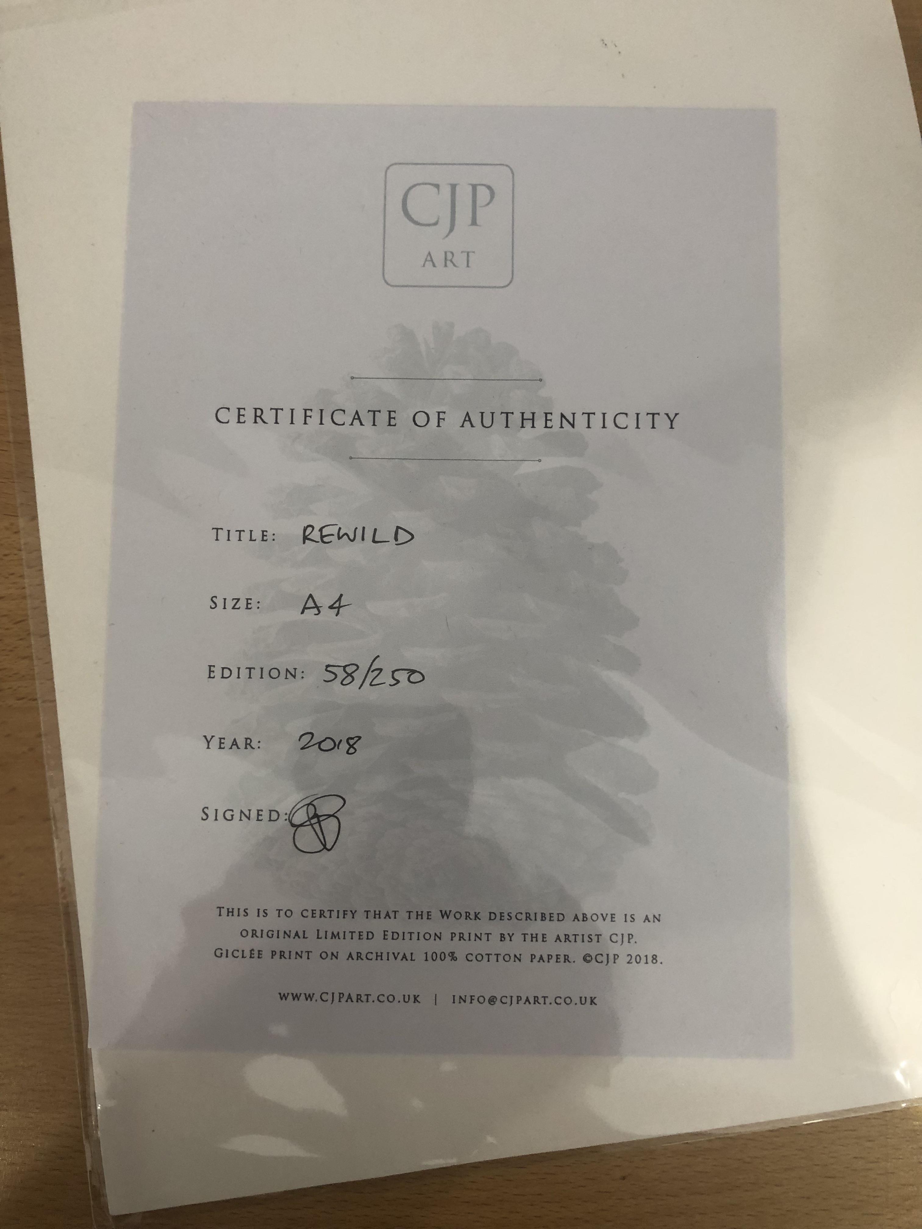 Lot 33 - CJP Art A4 Rewild Limited Edition Print