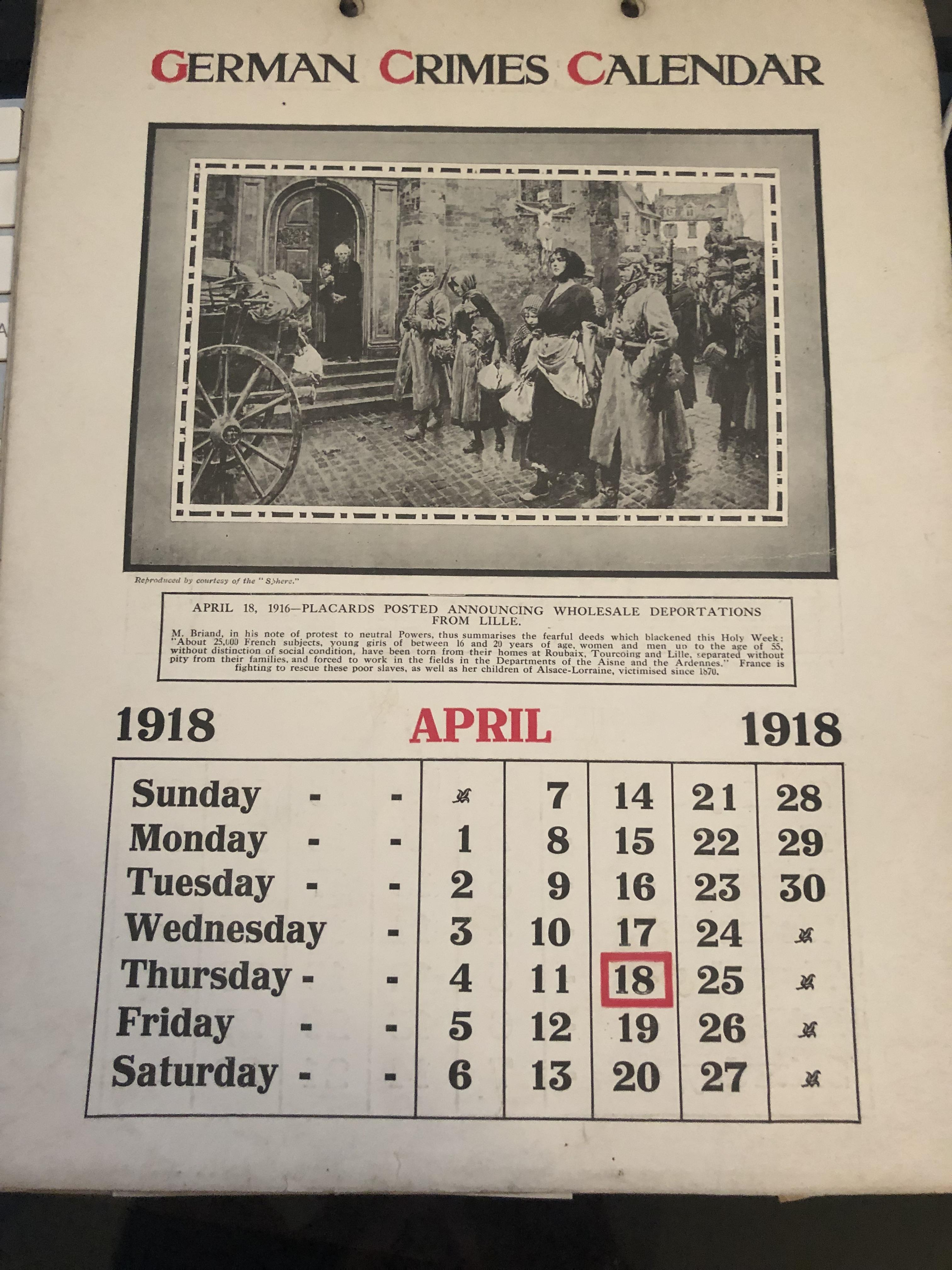 Lot 55 - 1918 German Crimes Calendar