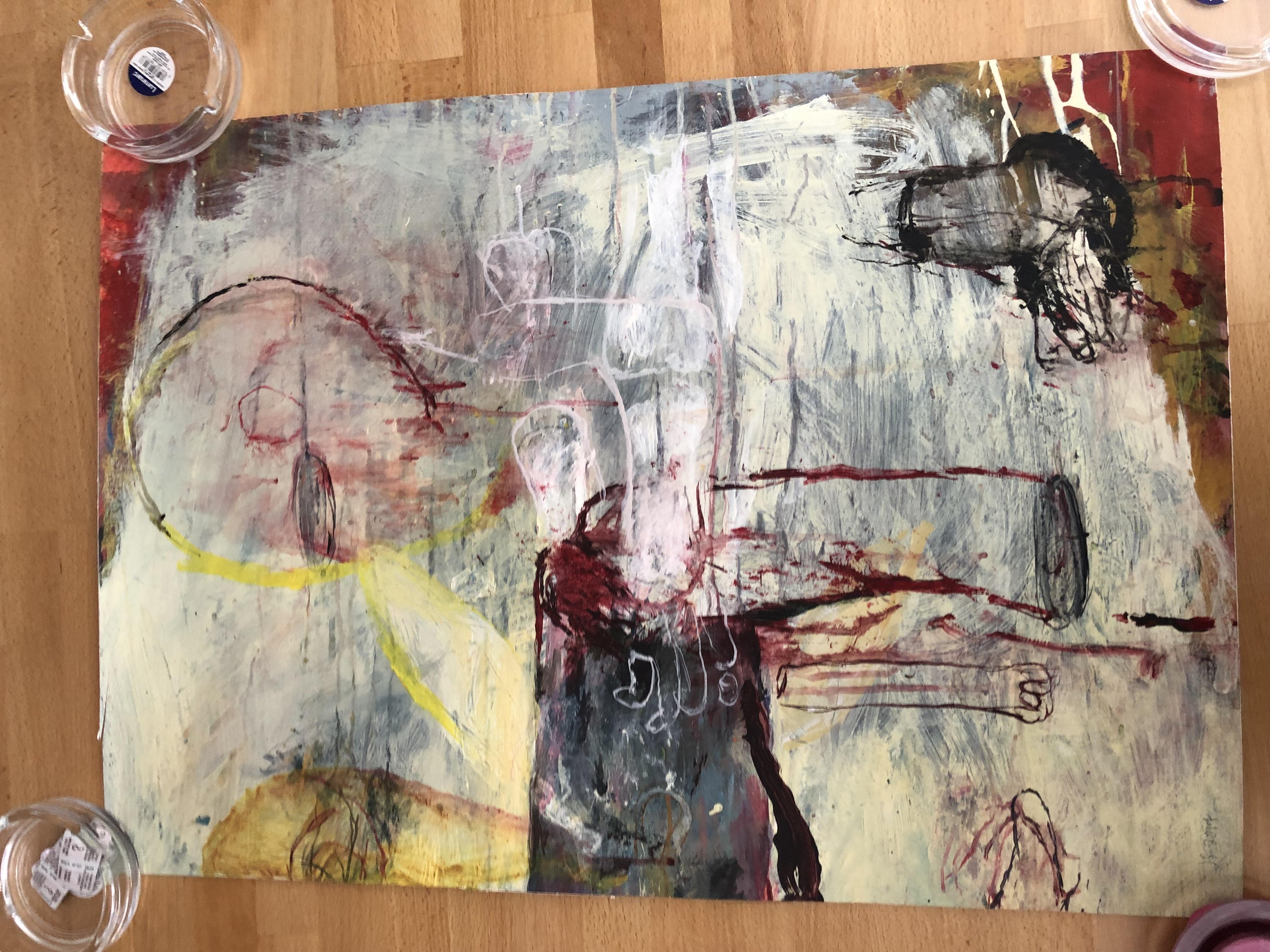 "Lot 57 - Pair of Jukka Sohonen Original Paintings ""The dog has the same journey"" & ""The flesh wall"""
