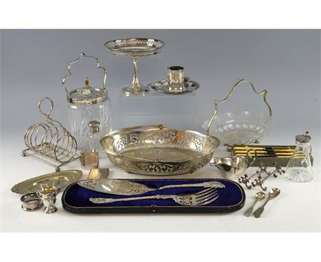 Small silver three handled cup, napkin ring, whisky noggin, plated fish servers, Art Deco toast rack and ash tray, and other