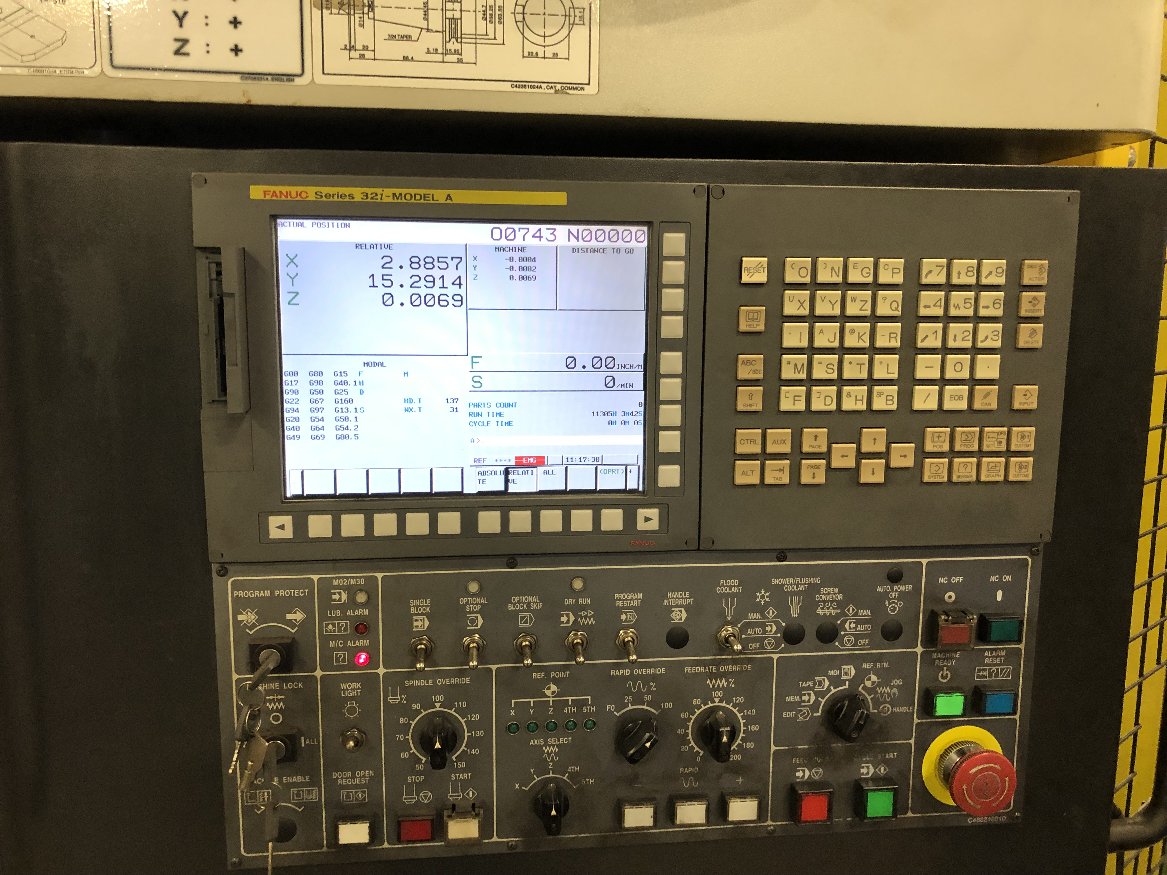 Doosan Model VC-500 VMC (2011), Fanuc 32iA, 20 HP, 10,000 RPM, 30 ATC, Chip Conv, 11,500 Approx Hrs - Image 7 of 8