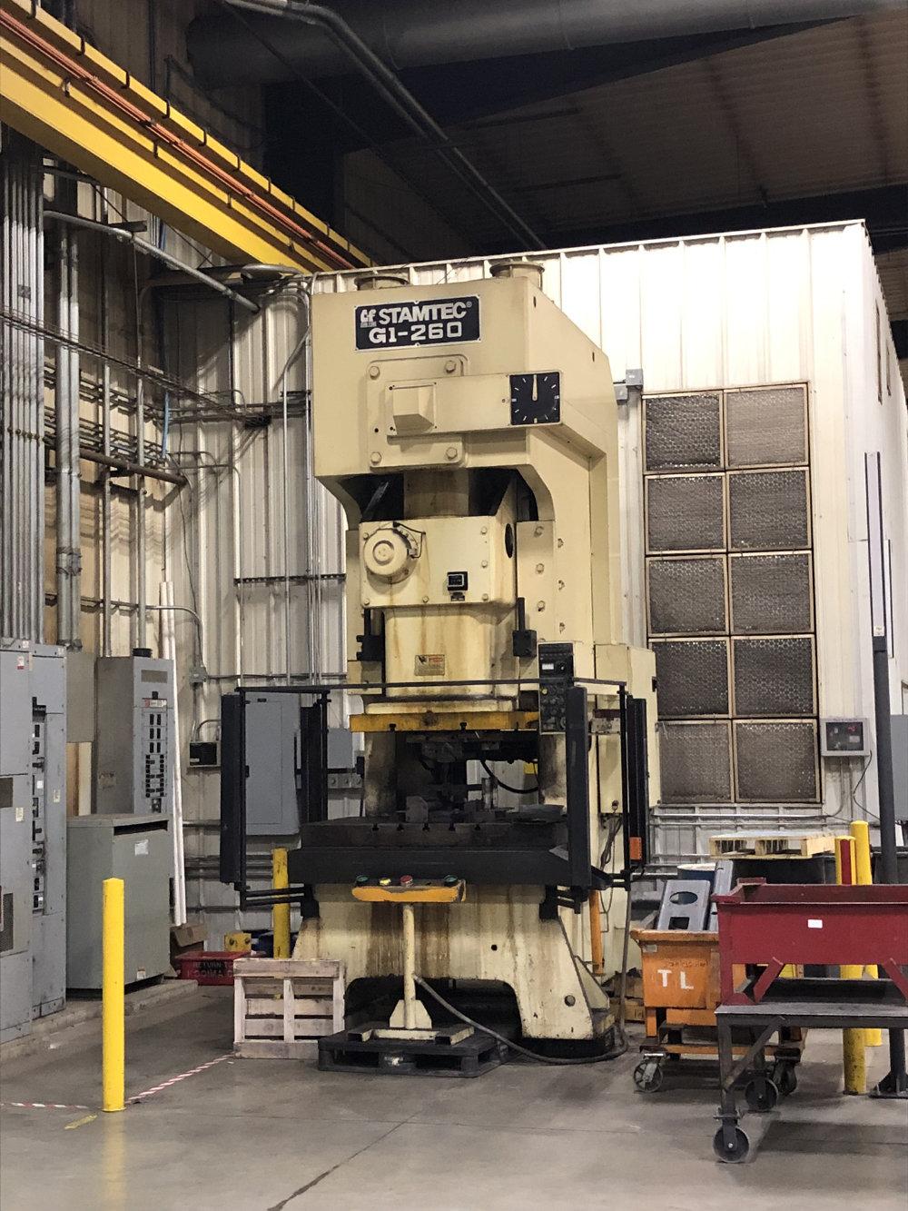 "Stamtec G1-260 Gap Frame Press, 286 Tons, 20-40 SPM, 59"" x 33"" Bed, Air Clutch / Brake"