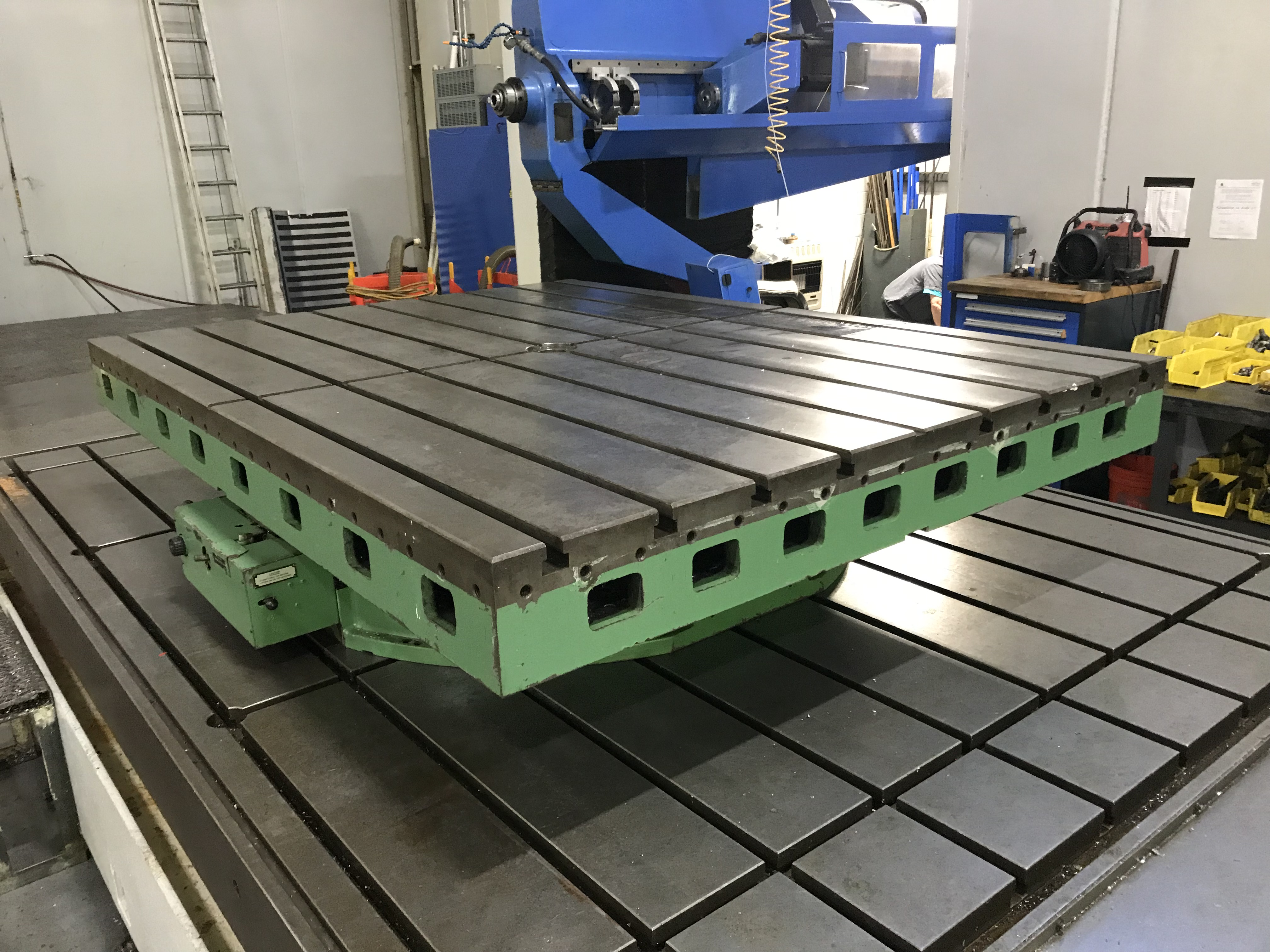 """Cincinnati Gilbert Air Lift Rotary Table, 20,000 LB Cap, 72"""" x 96"""", T-Slotted, 360 Degree Scale - Image 2 of 7"""