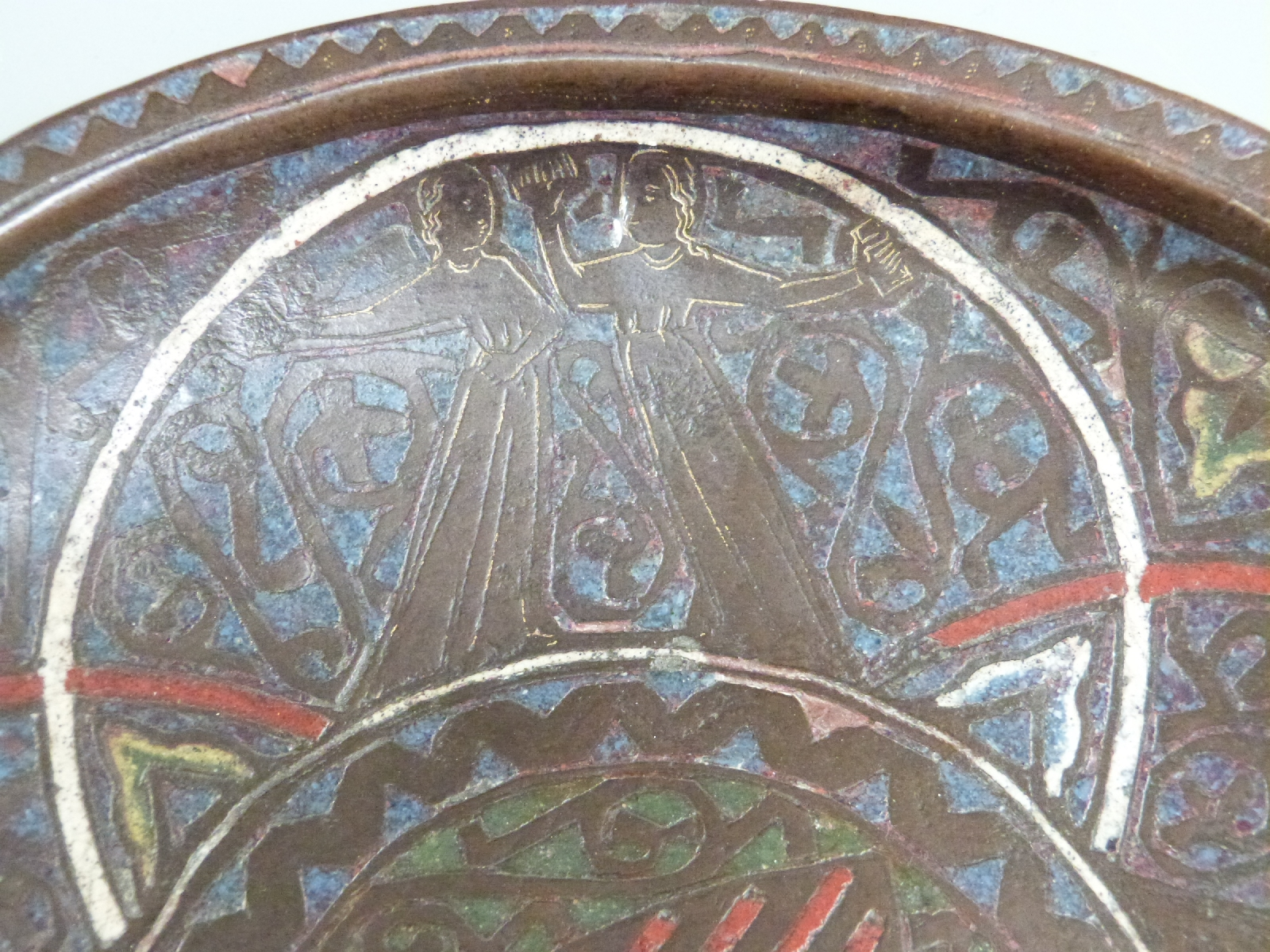 A 13thC French copper and polychrome champlevé enamel gemellion of typical shallow dished form, - Image 8 of 9