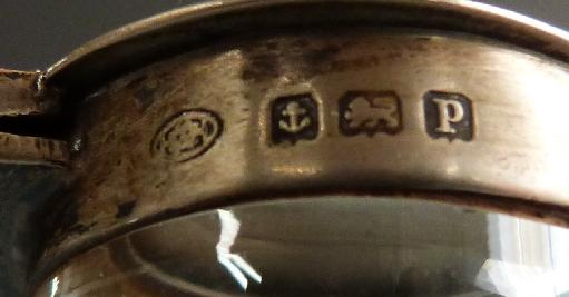 George V hallmarked silver mounted cut glass whisky noggin, Birmingham 1914 makerHukin & Heath Ltd, - Image 2 of 2