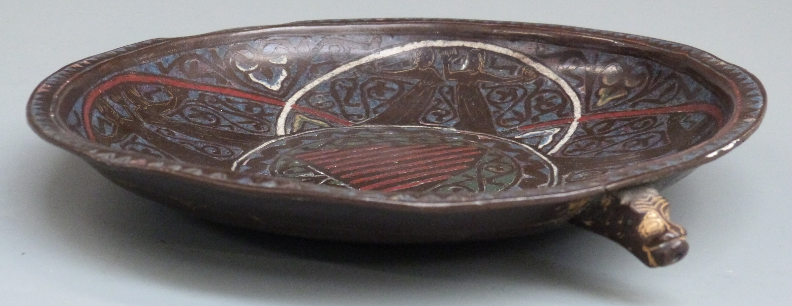 A 13thC French copper and polychrome champlevé enamel gemellion of typical shallow dished form, - Image 2 of 9