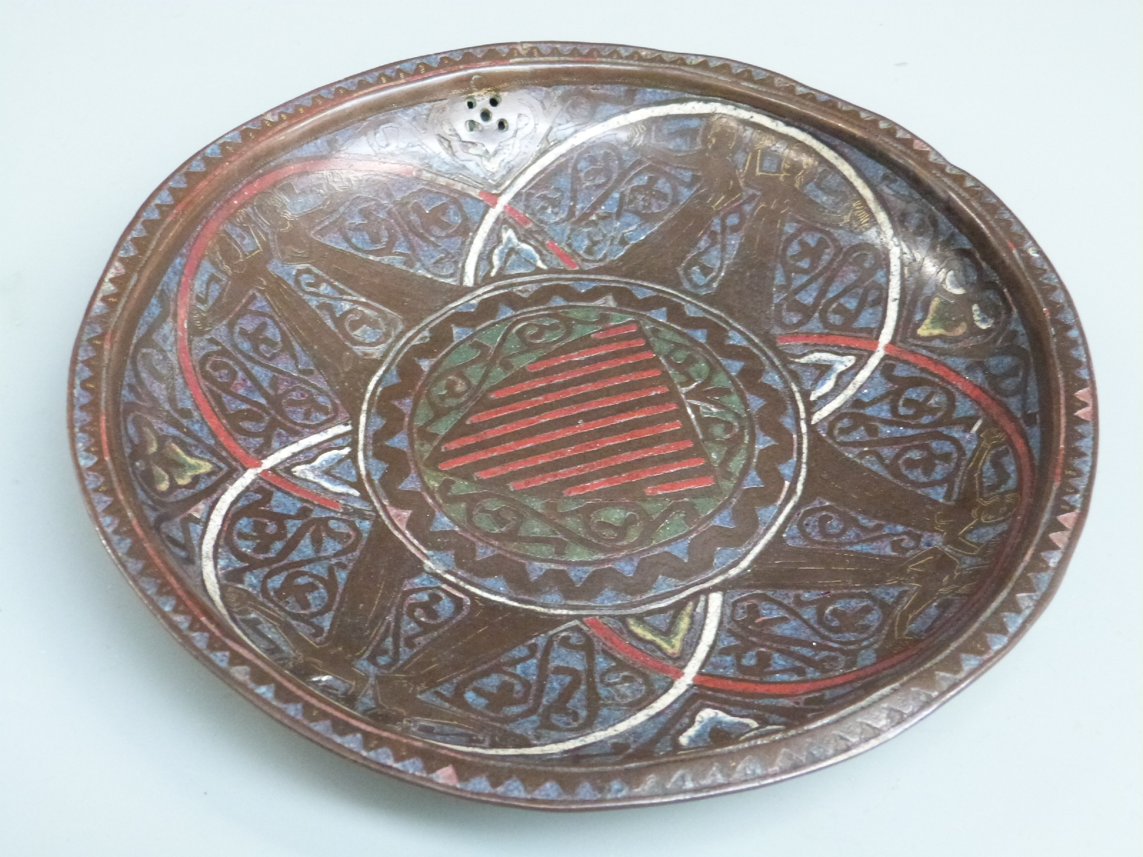 A 13thC French copper and polychrome champlevé enamel gemellion of typical shallow dished form, - Image 4 of 9