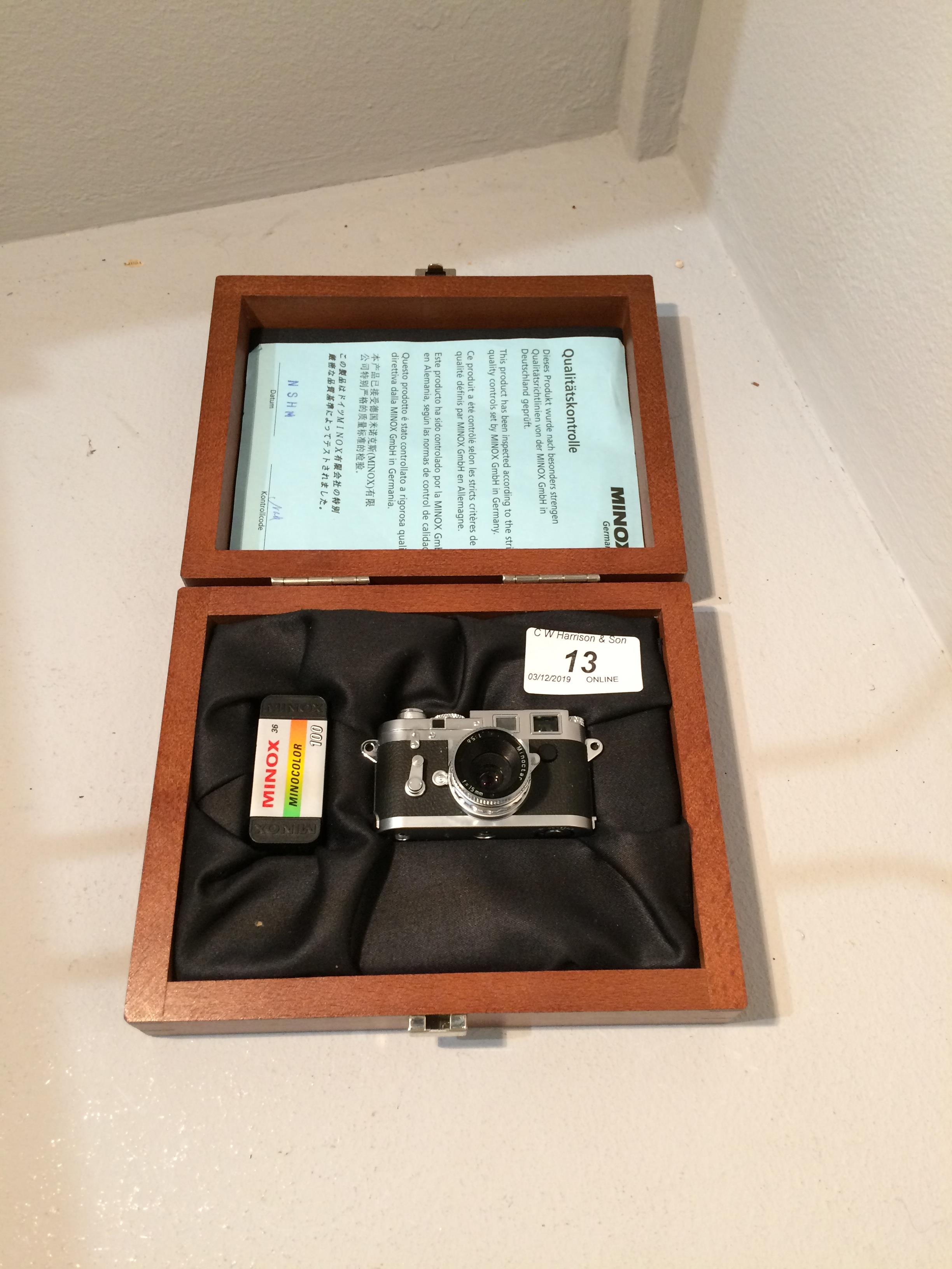 Lot 13 - Minox Camera Collections miniature Leica M3E11840 camera Minoctar l.115.