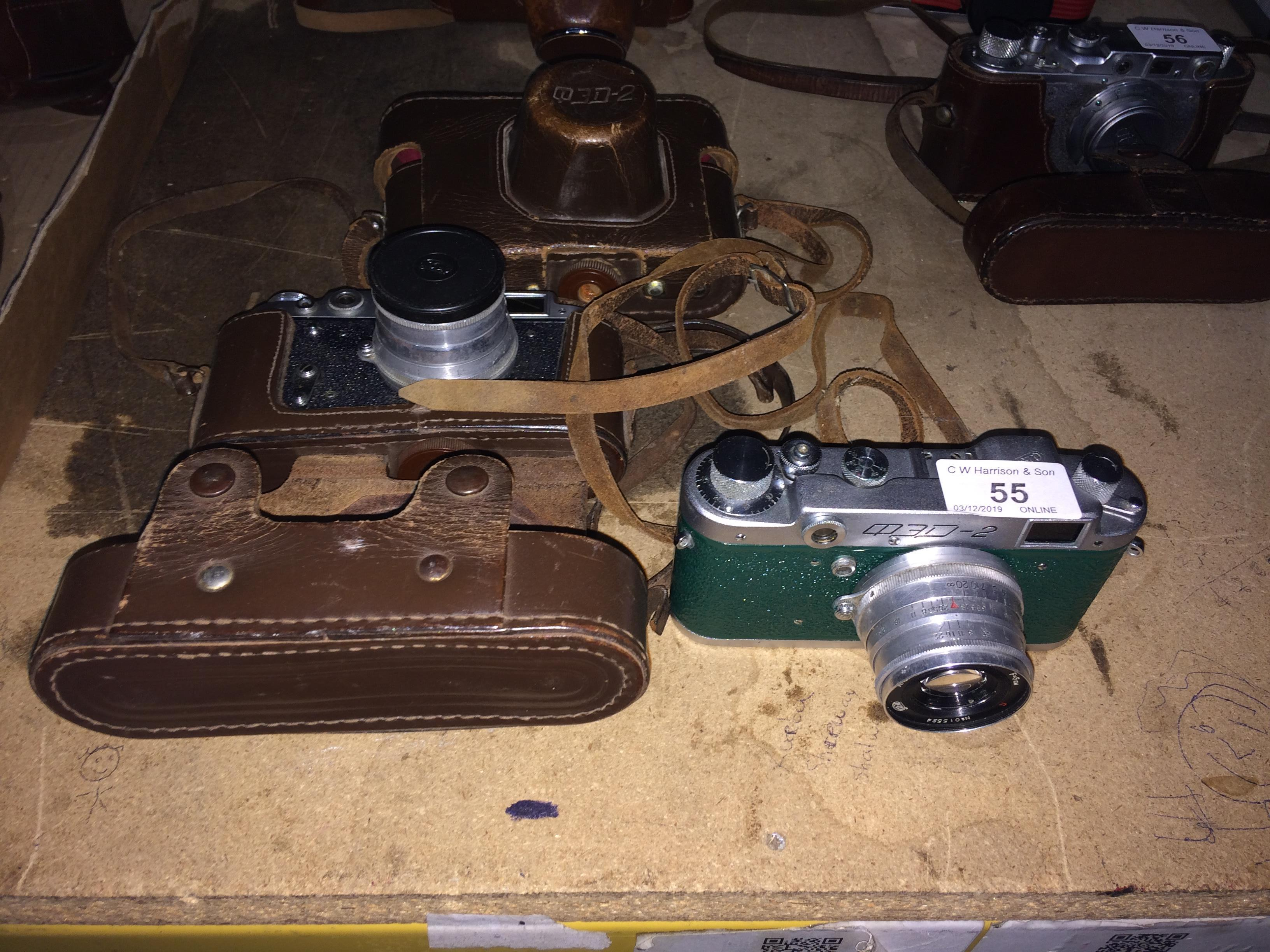 Lot 55 - 2 x FED QED2 cameras (2 x brown leather cases)