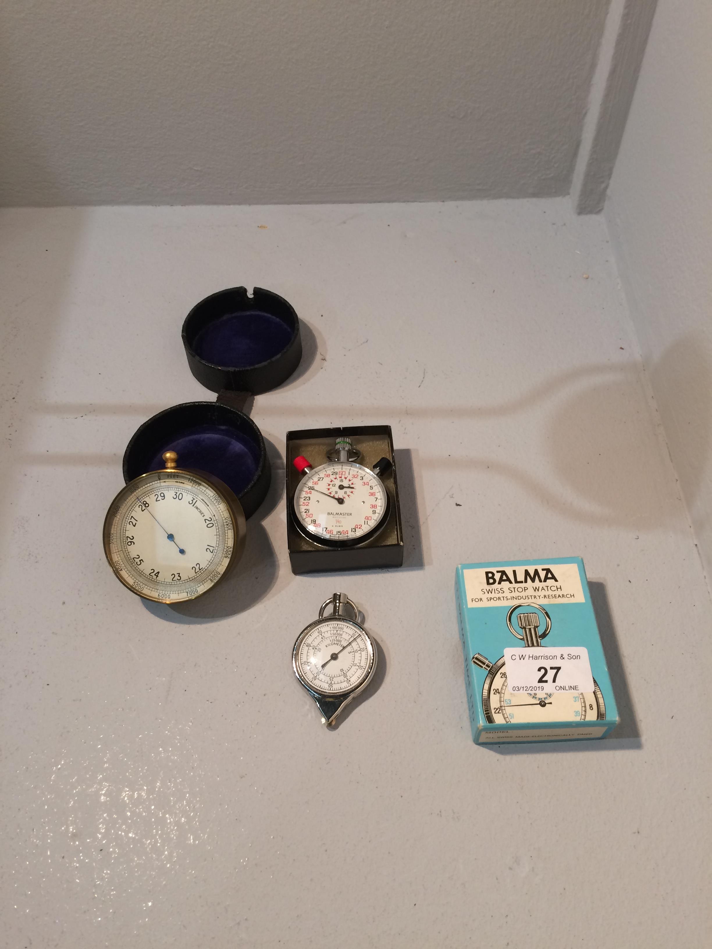 Lot 27 - T. Wheeler London no. 140/43 brass barometer aneroid pocket ref.