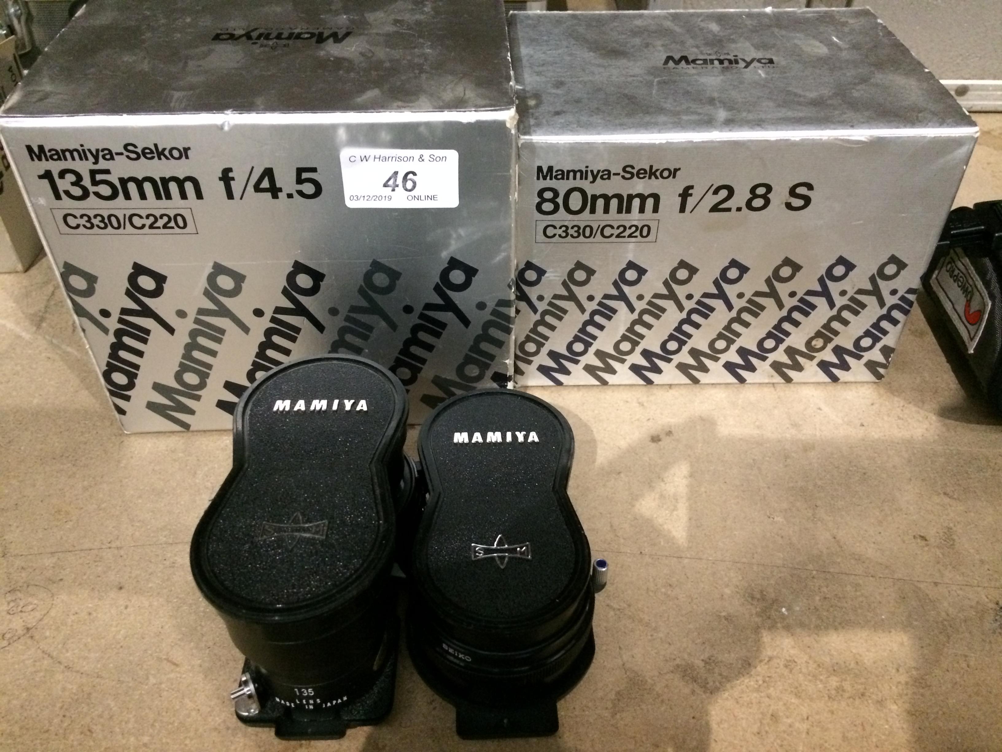 Lot 46 - 2 x items - Mamiya Sekor 135mm F/4.5 lens - boxed, and a Mamiya Sekor 80mm F/2.
