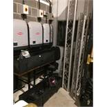 3 x sections of aluminum stage poles and 12 x stage spotlights complete with travel cases