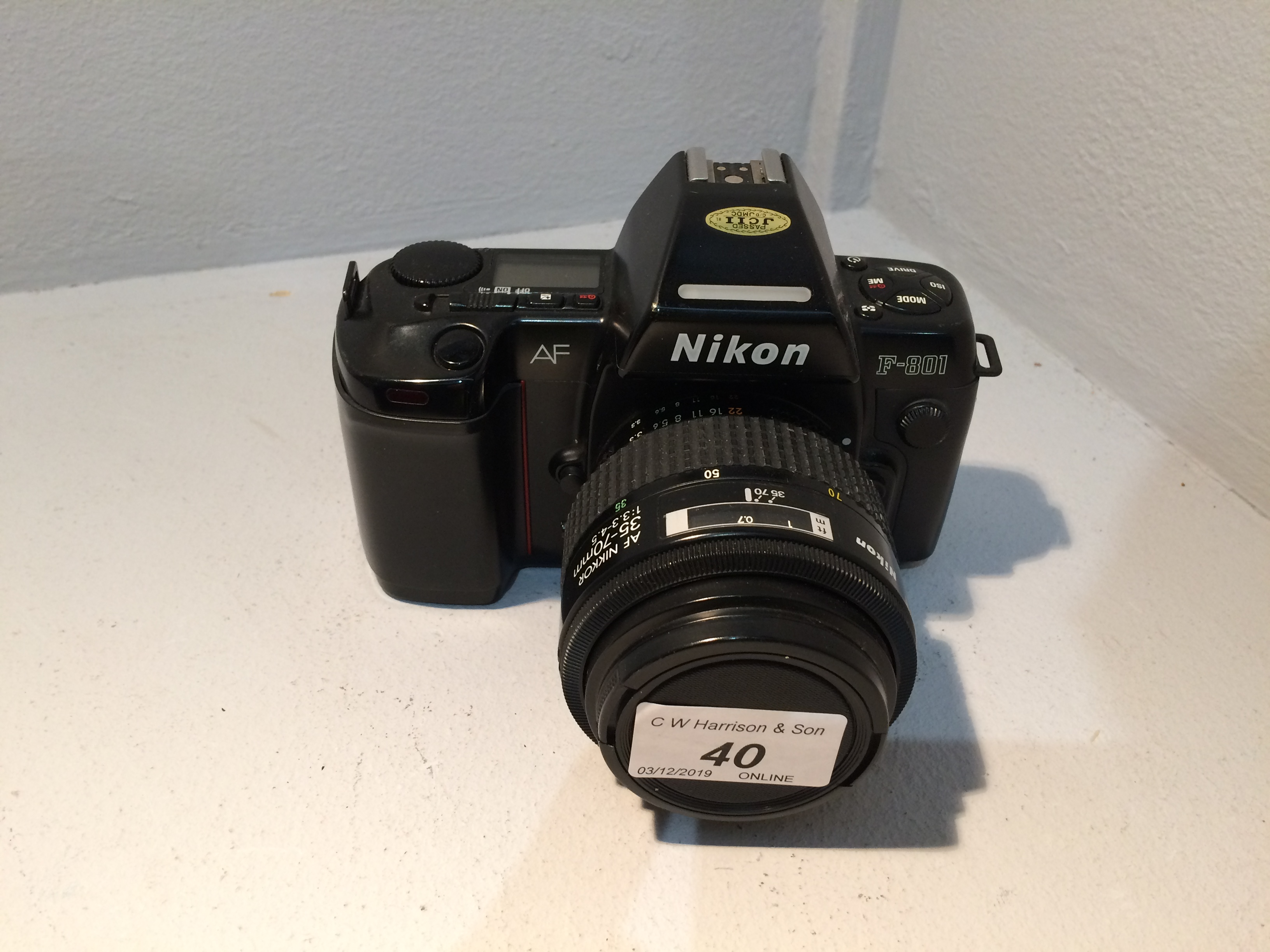 Lot 40 - Nikon F801 camera with Nikon 35 70mm lens