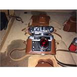 2 x items - FED QED 5C camera with leather case and a FED QED 4 camera with leather case