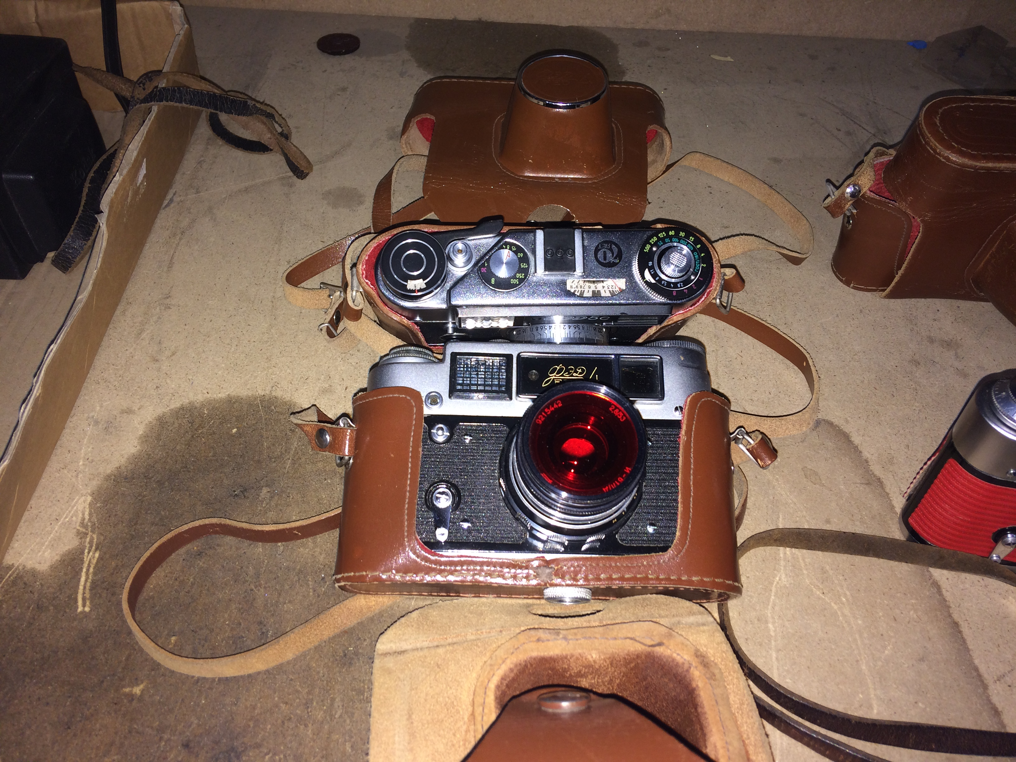 Lot 58 - 2 x items - FED QED 5C camera with leather case and a FED QED 4 camera with leather case
