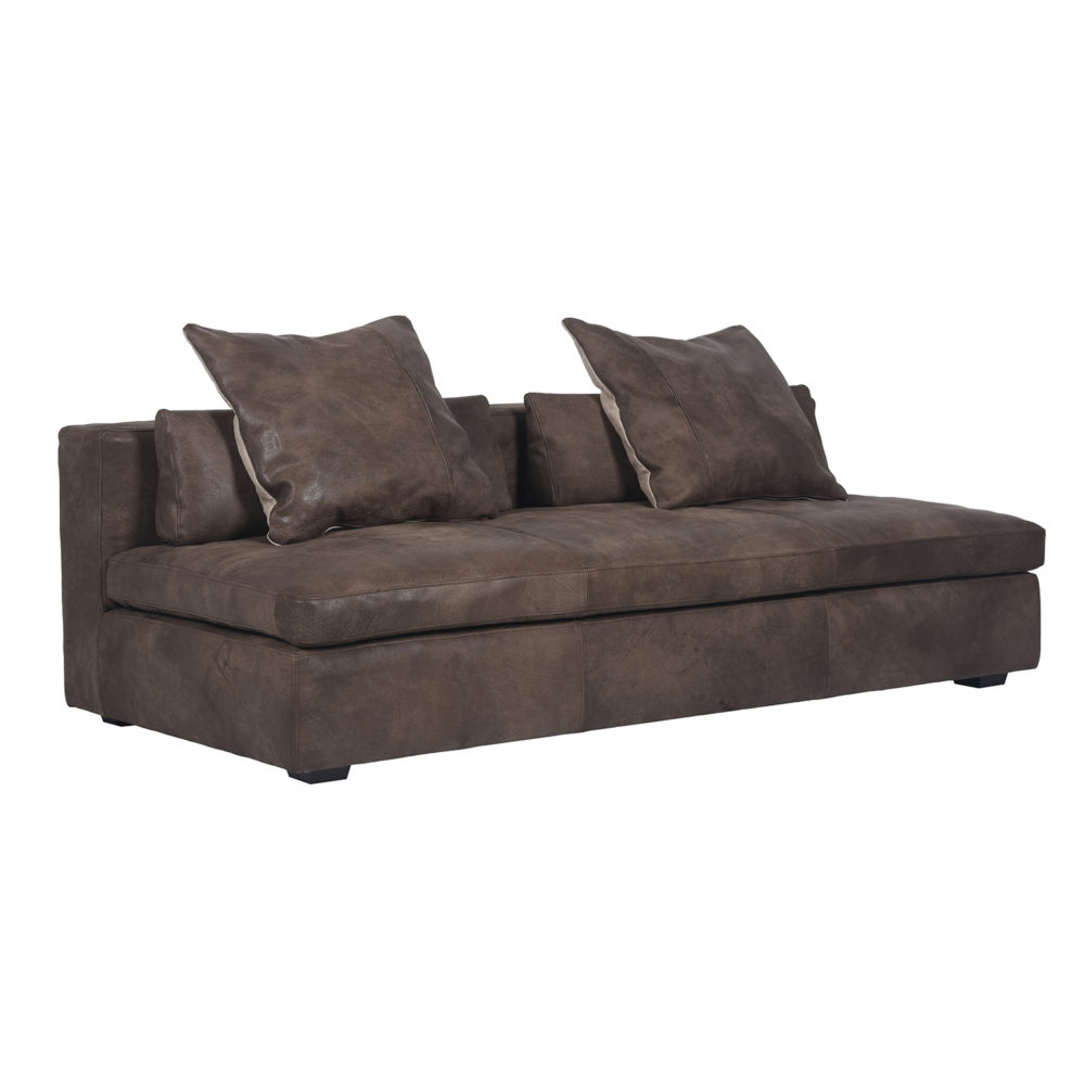 Lot 2 - Bleu Nature Cochise Sectional Sofa 3 Seater Pawnee Tobacco, Sioux Black Leather 202 X 99 X 42cm