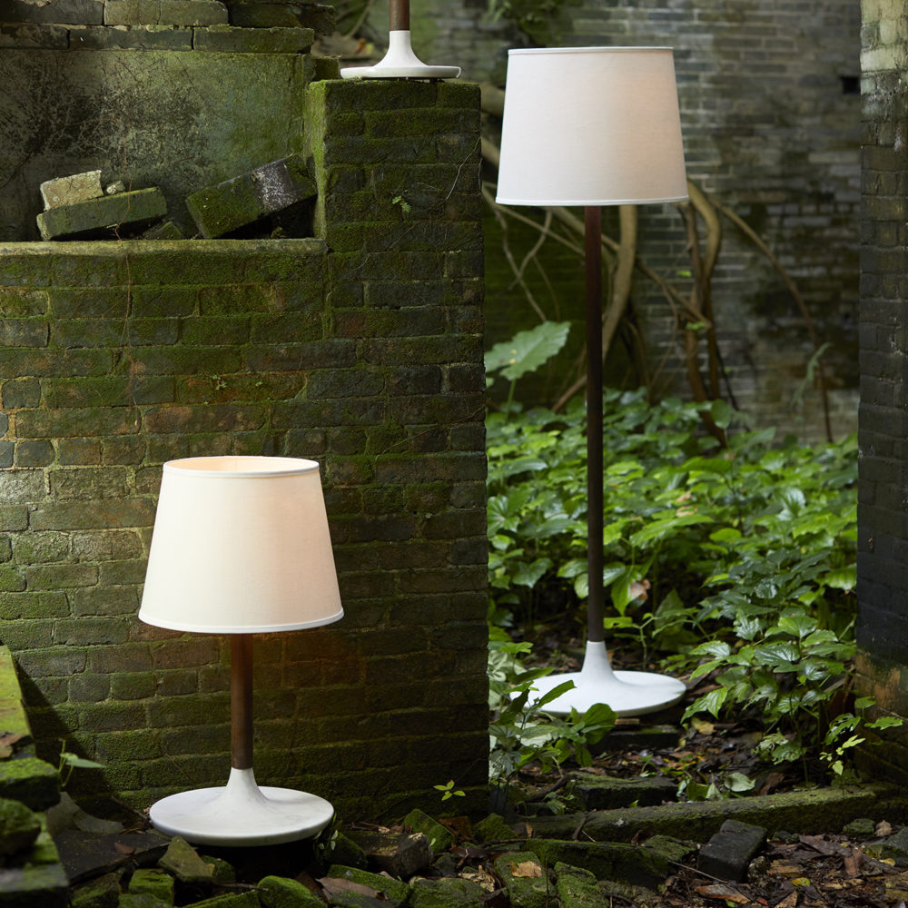 Lot 7 - Bleu Nature Nikiti Table Lamp Large L259l (EU) Dark Oak And White Marble, Ecru Linen Lampshade 37