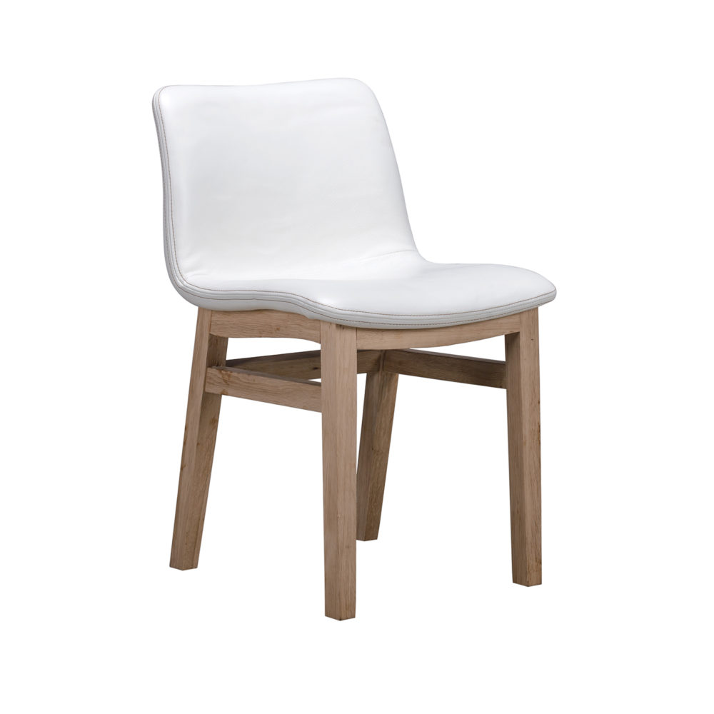 Lot 32 - Bleu Nature F297 Cocoon Dining Chair With New Stitch w/o Wood Back White Pebble Leather and Oak 49 x