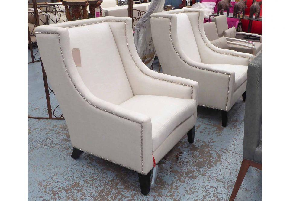 Lot 71 - Andrew Martin Austin Lounge Chair In Salisbury Ewe Fabric And Chromium Studded, 93cm X 102cm X 115cm
