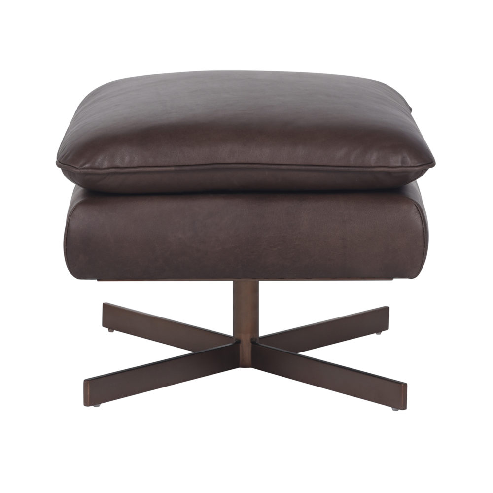 Lot 12 - Bleu Nature Waki Footstool – F318 Iroquois Chocolate And Brushed Copper 64 x 55 x 42 cm RRP £1195