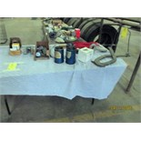 LOT CONSISTING OF: piston ring drivers, pipe wrench, tire branding iron, drill bits, bale clamp,