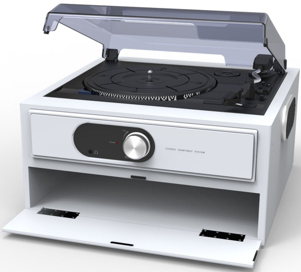 Lot 50019 - V Brand New Steepletone Deckster Three Speed Turntable With Built In Record Storage - Amazon