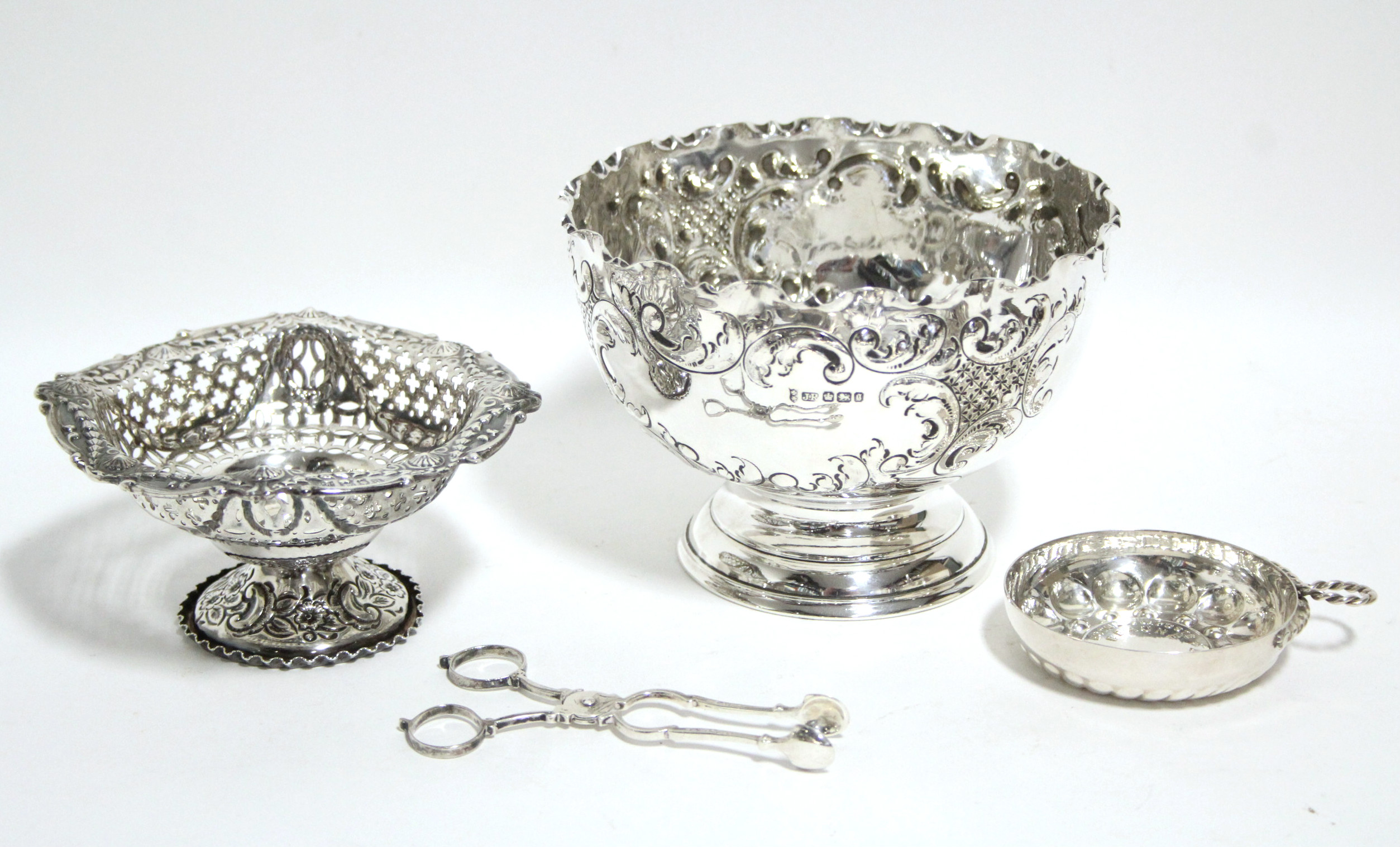 "Lot 47 - A late Victorian embossed rose bowl, 5¾"" diam.; Sheffield 1899; a pierced & embossed sweetmeat"