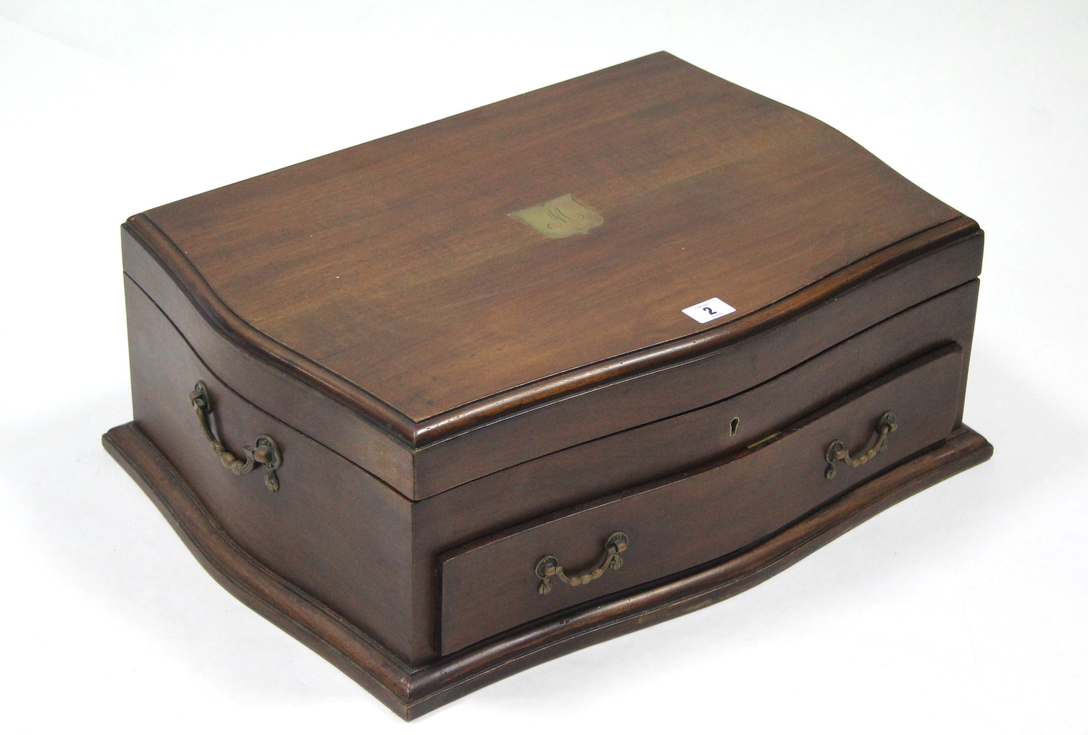 "Lot 2 - A mahogany canteen case with lift lid & fitted single drawer; 21½"" wide."