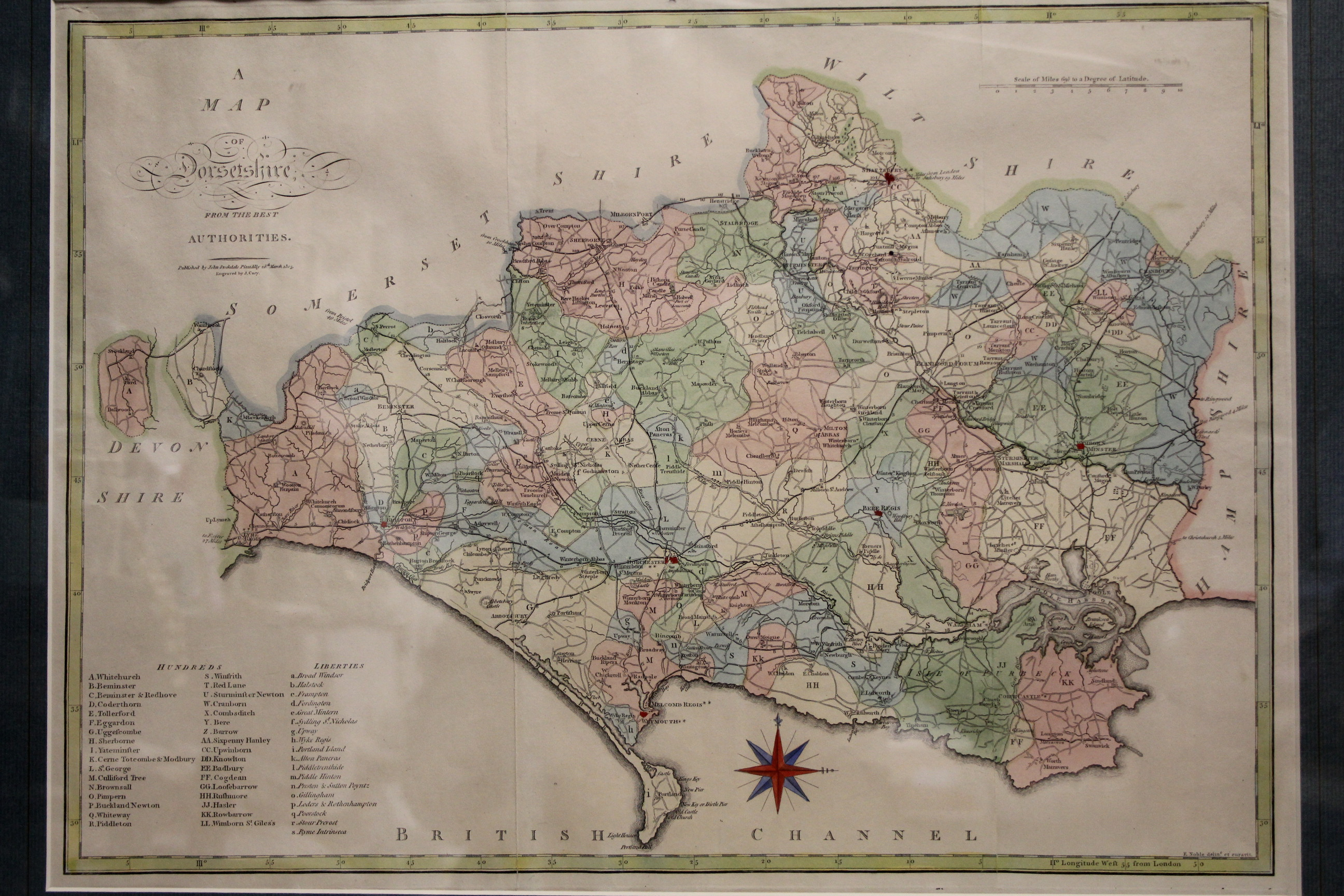 """Lot 117 - CARY, J. A coloured engraved map of Dorsetshire, From The Best Authorities"""". Published 1805, by John"""