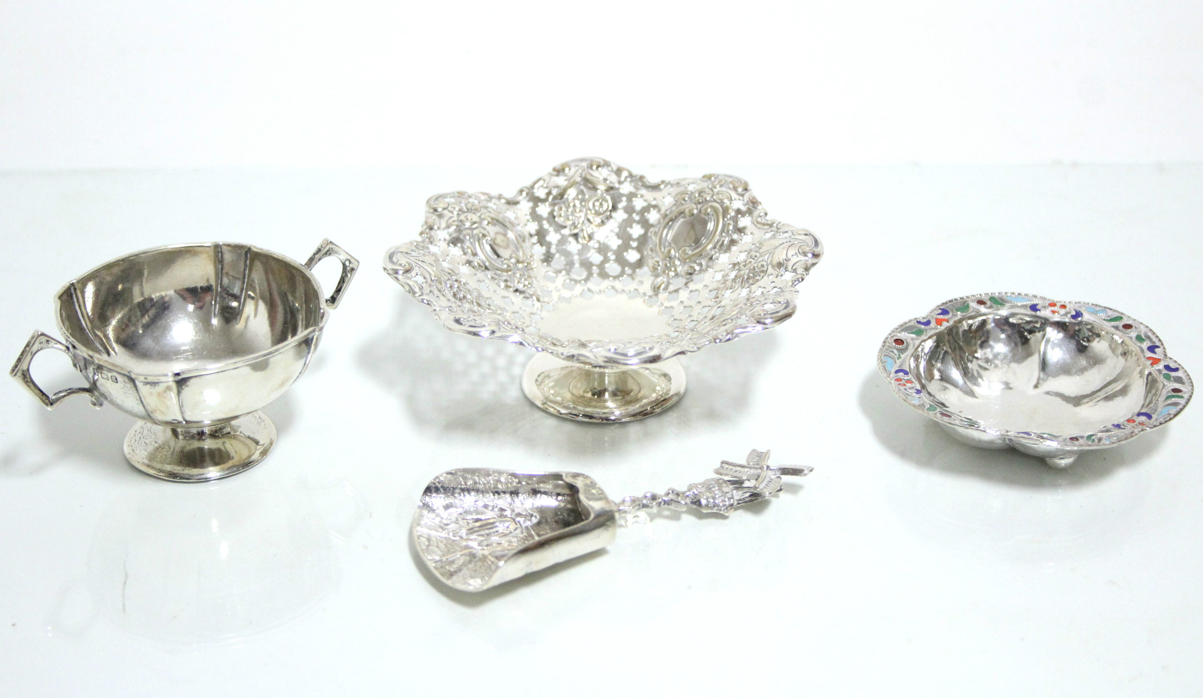 """Lot 45 - A late Victorian shaped circular sweetmeat dish with pierced & embossed decoration, 4"""" diam."""
