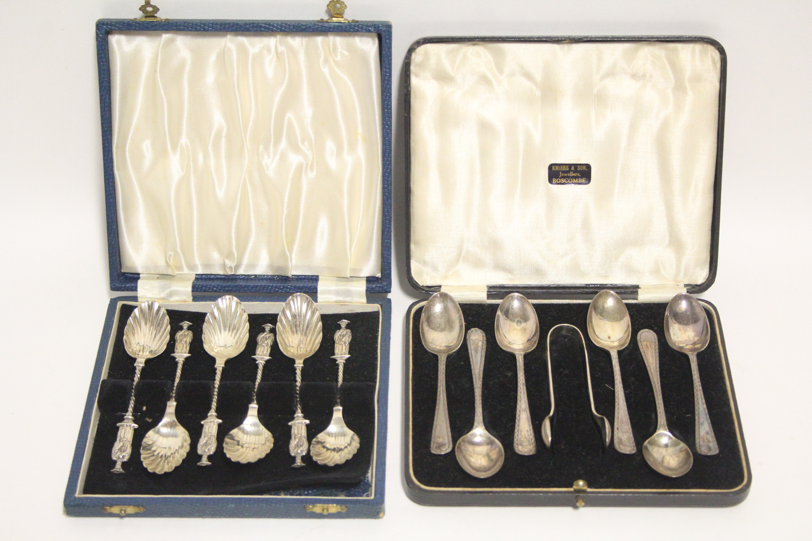 Lot 41 - A set of six late Victorian apostle-knop coffee spoons with shell bowls, Birmingham 1891, by
