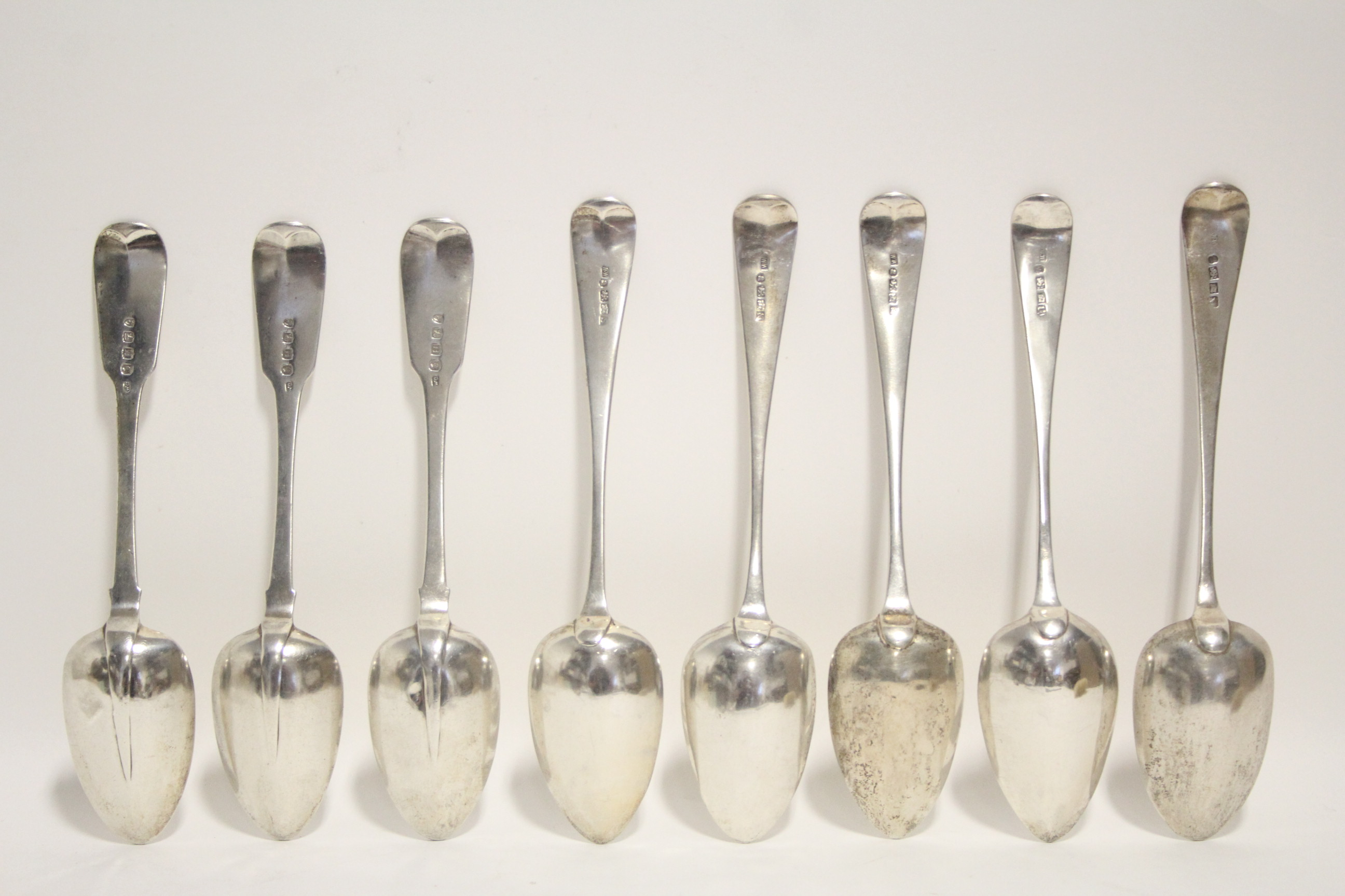 Lot 16 - Three George III Old English table spoons, Exeter 1814; two ditto, Exeter 1807 & 1808, all by