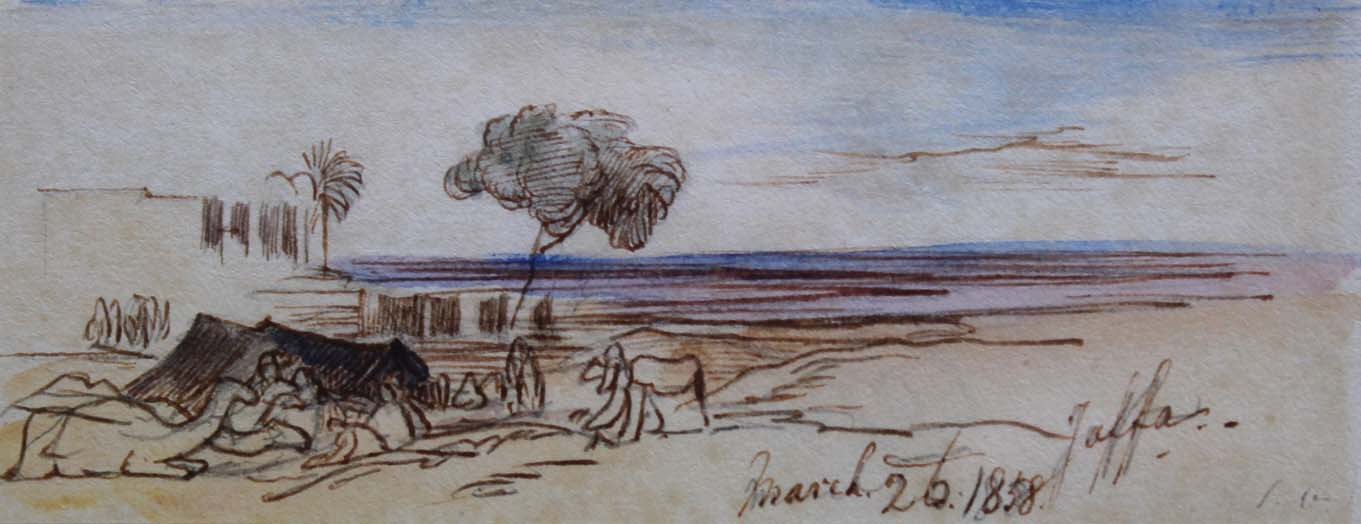 Lot 1720 - EDWARD LEAR (1812-1888) JAFFA Inscribed Jaffa and dated March 26:1858 (in ink over pencil),