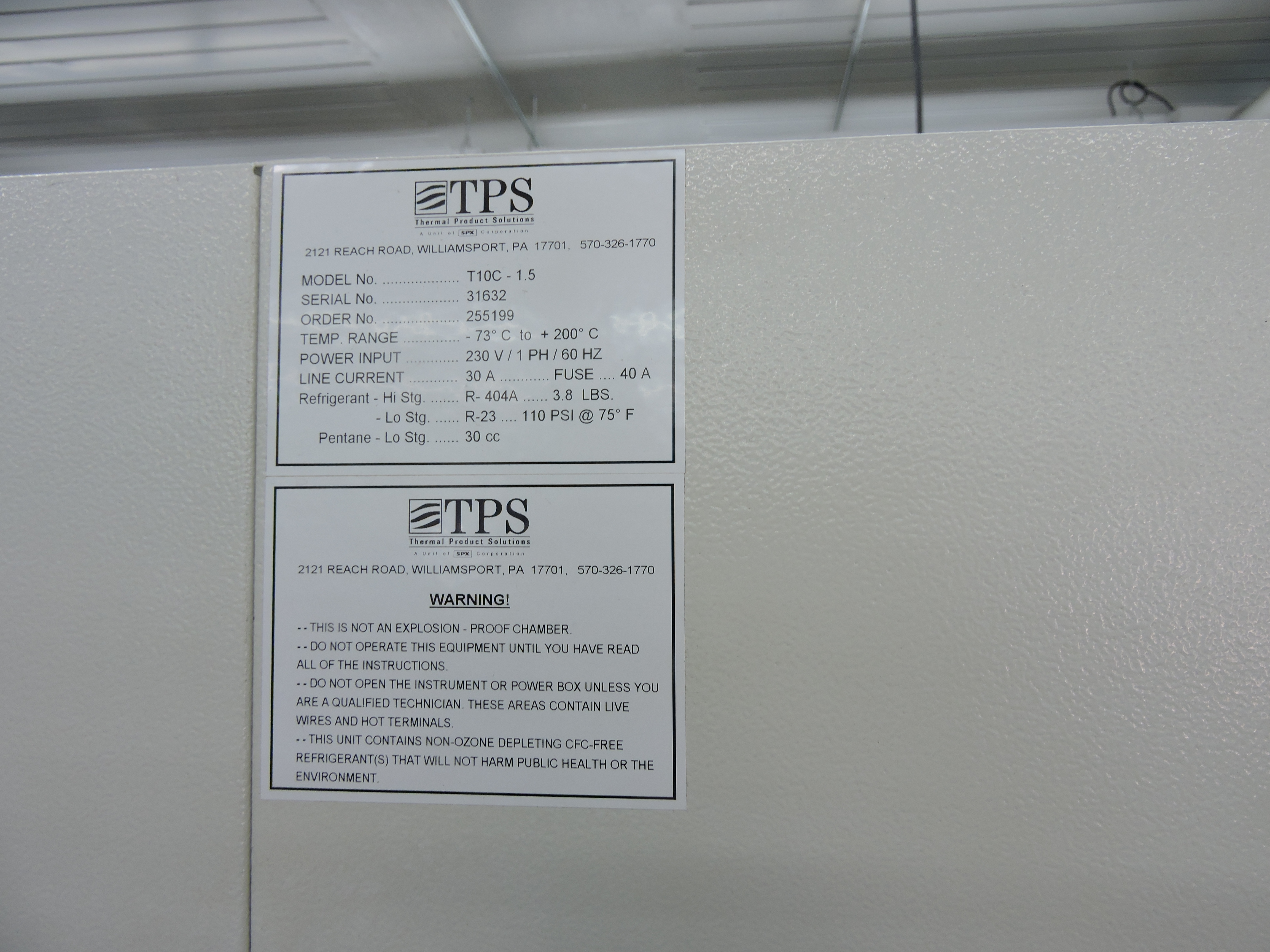Lot 31 - TENNEY ENVIRONMENTAL CHAMBER