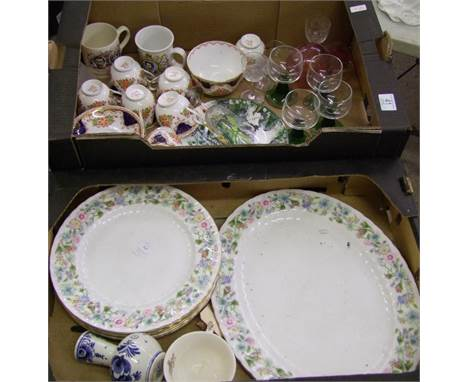 A mixed collection of items to include: Roslyn China Tea Set, Aynsley Wild Tudor Dinner Plates, Similar Serving Platter, Glas