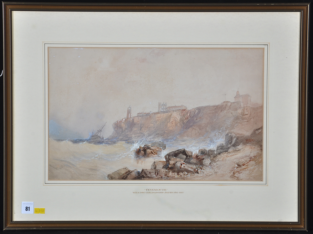 """Lot 81 - William Collingwood Smith, RWS - """"King Edward's Bay, Tynemouth"""", with inscription on a label verso,"""